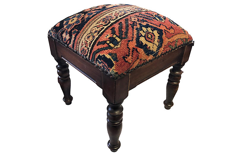Footstool w/ 19th-C. Heriz Top