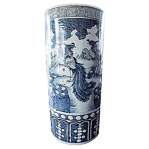Chinoiserie Blue & White Umbrella Stand