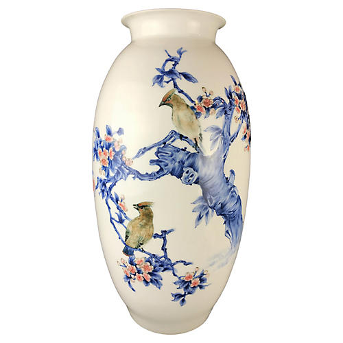 LG Chinoiserie B&W Vase