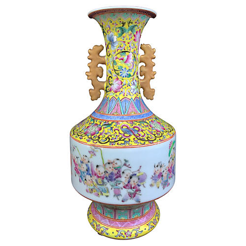 Famille Jaune Enamel Porcelain Vase