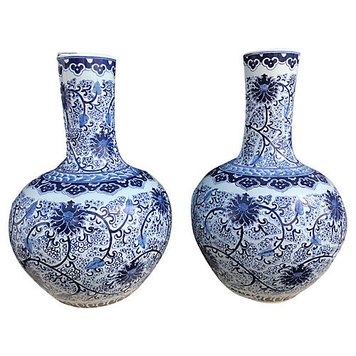 Chinese Onion-Shaped Vases, Pair