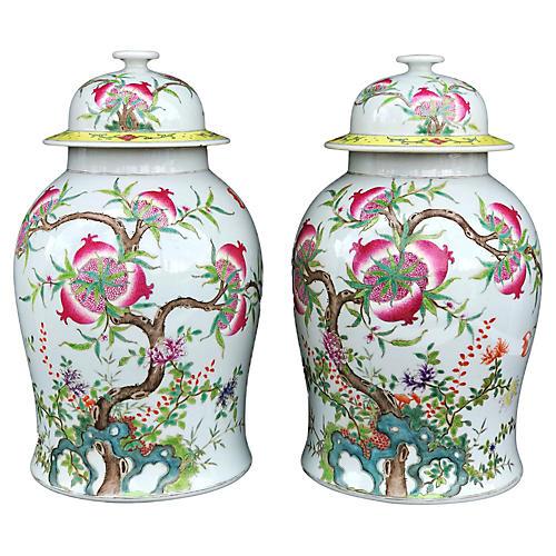 Famille Rose Ginger Jars, Pair