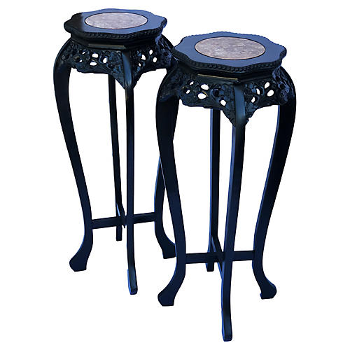 Chinese Marble-Top Pedestal Stands, Pair