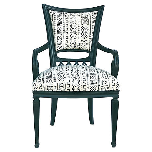 Black Lacquer Wood Chair W/ Mud Cloth