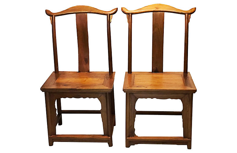 Chinese High Officials Hat Chairs, Pair