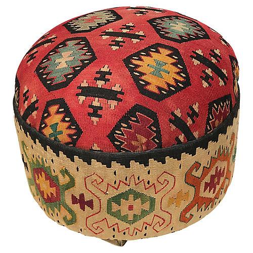 Antique Tribal Kilim Ottoman/footstool
