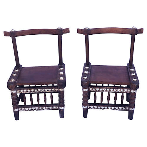 African Ceremonial Chairs, Pair