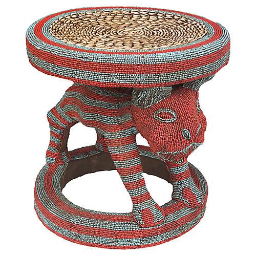 Large King Bamileke Beaded Stool/Table