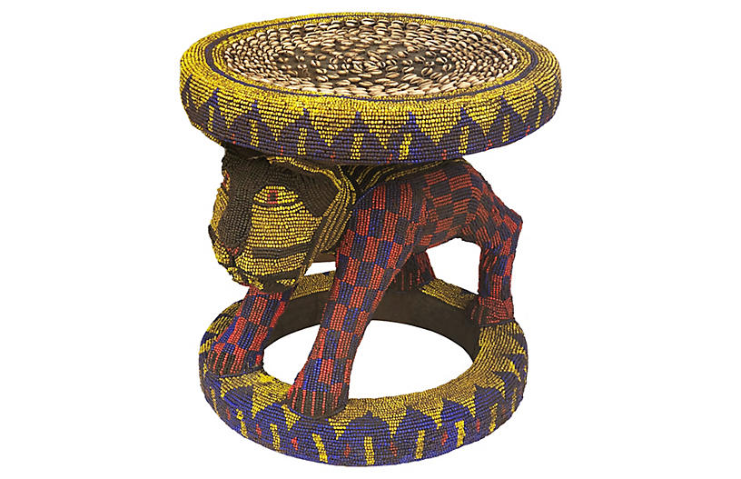 Large King Bamileke Beaded Stool/Table