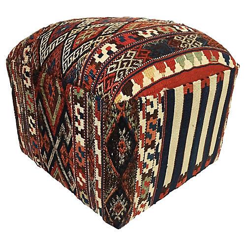 Ottoman w/ Antique Azeri Kilim