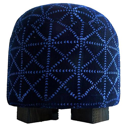 Malian Indigo Cloth Ottoman