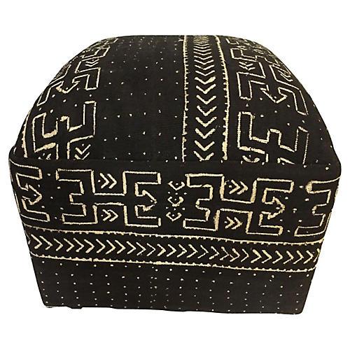 LG Ottoman in African Malian Mud Cloth