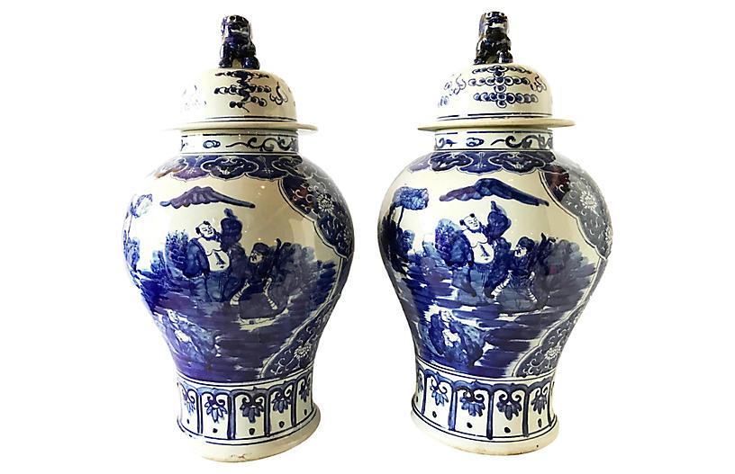 Chinese Blue & White Ginger Jars, Pair