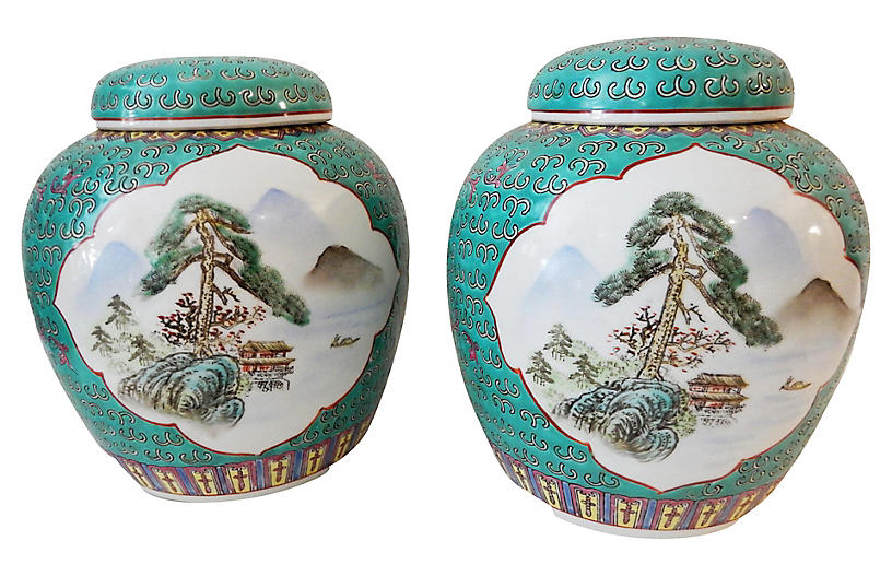 Famille Rose Ginger Jars Pair