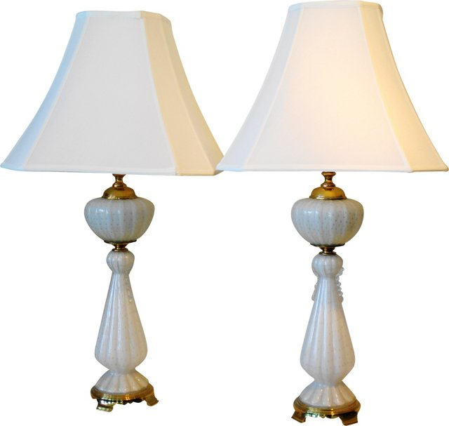 White Murano Lamps, Pair