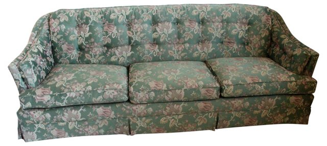 Traditional Green Floral Sofa