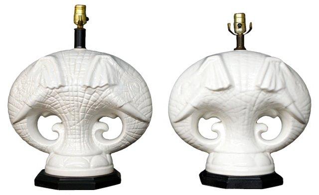 Double-Headed Elephant Lamps, Pair