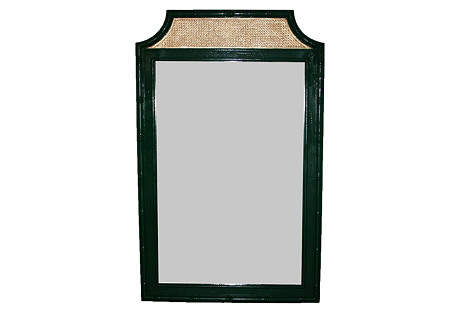 Green & Gold Faux-Bamboo Mirror