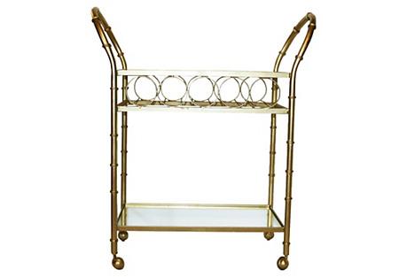 Gold Bamboo-Style Bar Cart