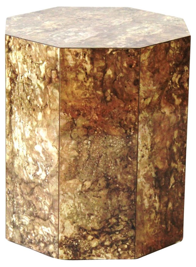 Octagonal Faux-Marble End Table