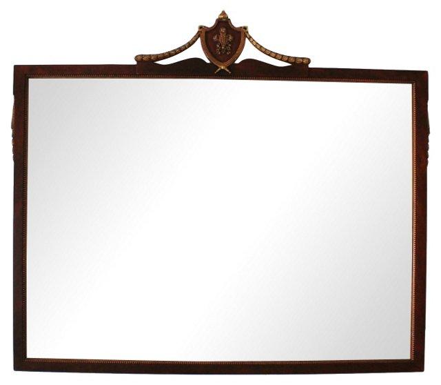 Parcel Gilt Mahogany Mirror w/ Crest