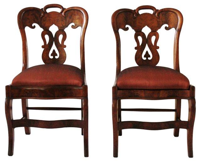 19th-C. Mahogany Side Chairs, Pair