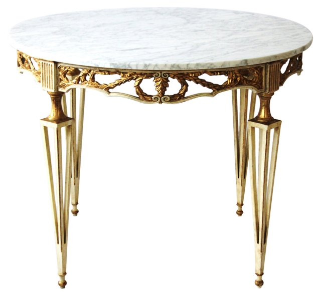 Neoclassical Dining Table w/ Marble Top