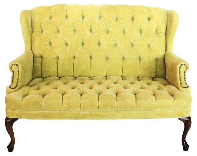 Tufted Wingback Settee