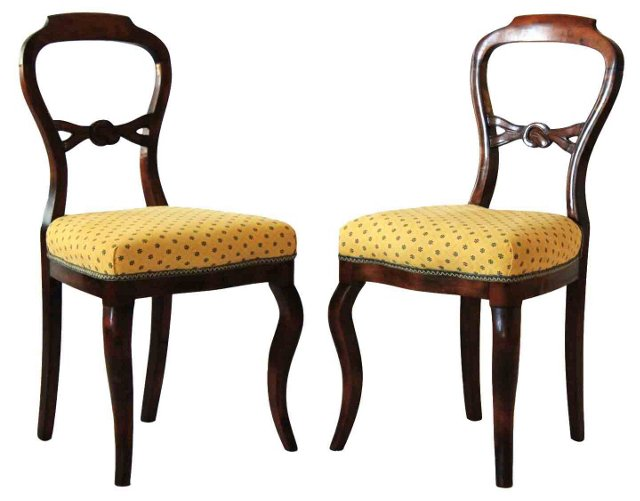 19th-C. Side Chairs, Pair