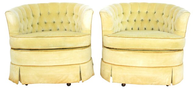 Tufted Swivel Chairs, Pair