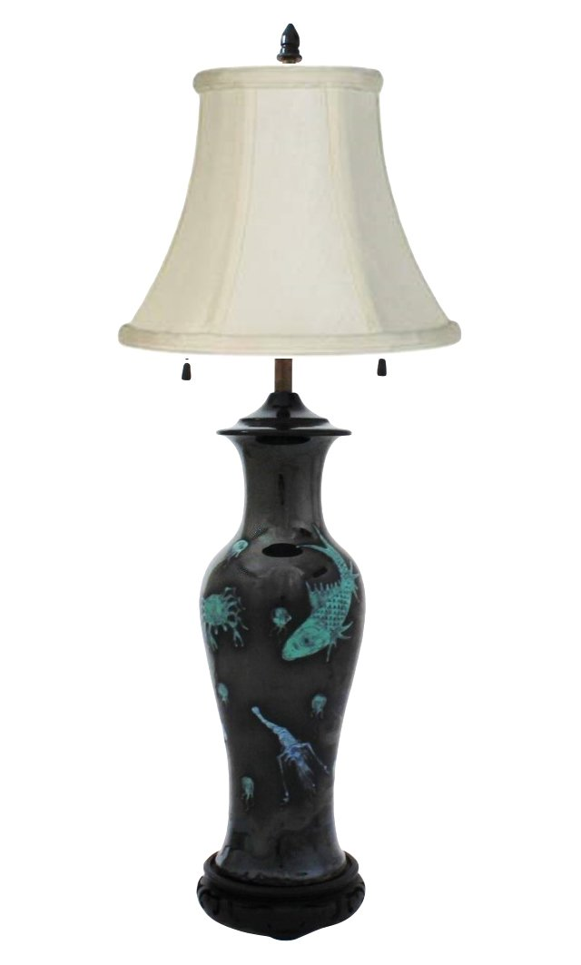 Chinese Mirror Black Vase Lamp