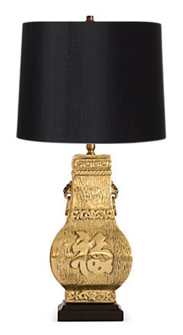 Brass Asian-Inspired Lamp