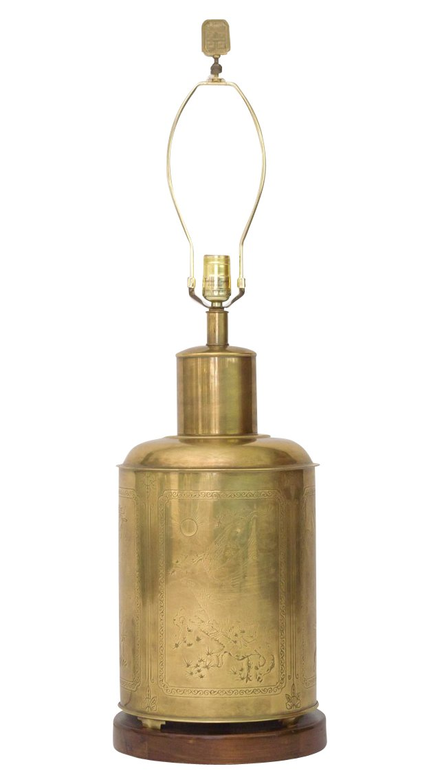 Brass Tea Caddy Lamp by Frederick Cooper