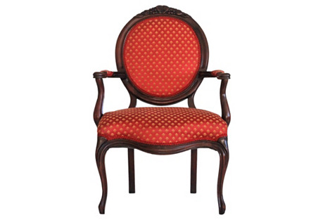 Carved Oval-Back Fauteuil