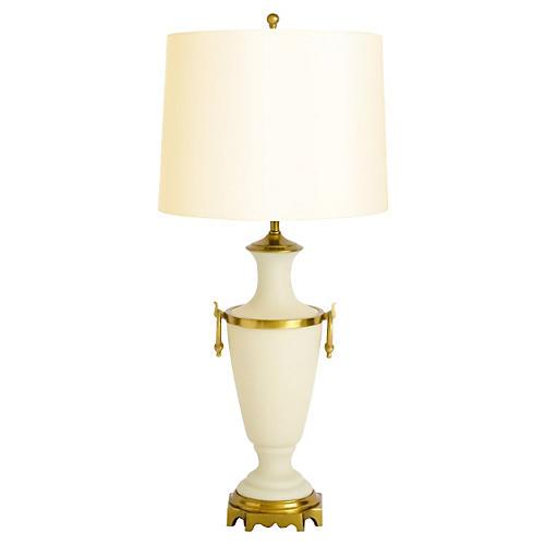 Paul Hanson Opaline & Brass Lamp