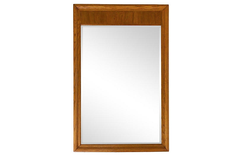 Beveled Oak Mirror w/ Top Panel
