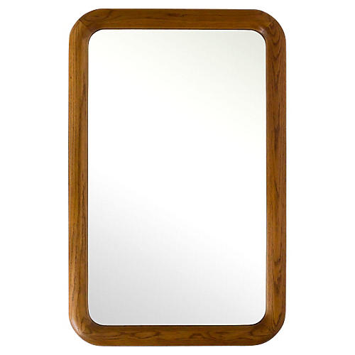 Large Oak Mirror w/ Rounded Corners