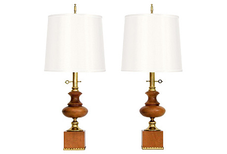 Brass & Maple Table Lamps, Pair