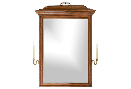 Walnut Mirror w/ Brass Candle Sconces