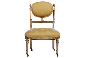 Louis XVI-Style Gilded Parlor Chair*