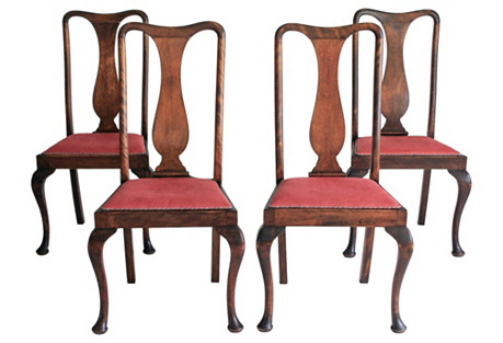 Antique Queen Anne Dining Chairs, S/4
