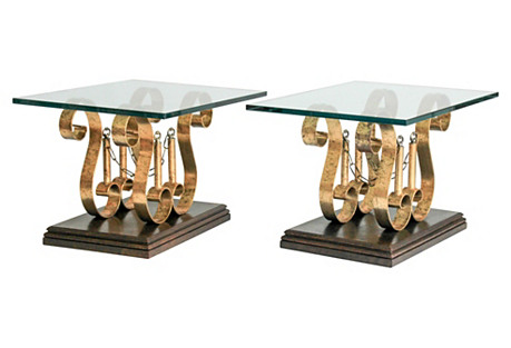 Pair of Gilded Iron Scroll Side Tables