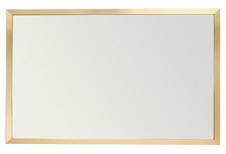 Large Rectangular Brass Mirror, 1962