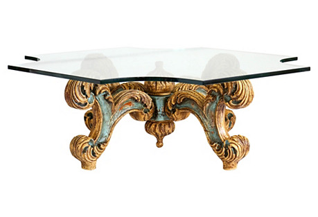Hand-Carved Coffee Table w/ Glass Top