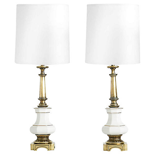 White Porcelain Stiffel Lamps, Pair