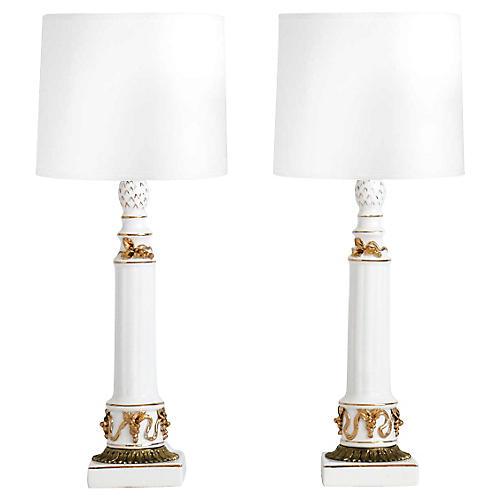 Neoclassical Porcelain Lamps, Pair