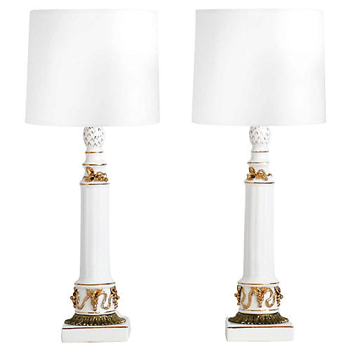 Neoclassical Porcelain Lamps, Pair