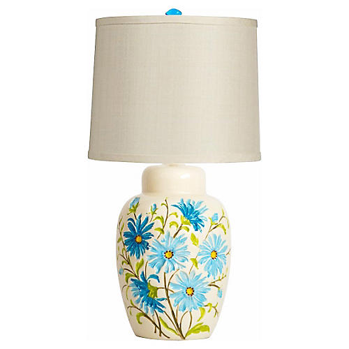Ginger Jar Lamp w/ Blue Daisies