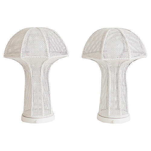 Large Midcentury Wicker Lamps, Pair