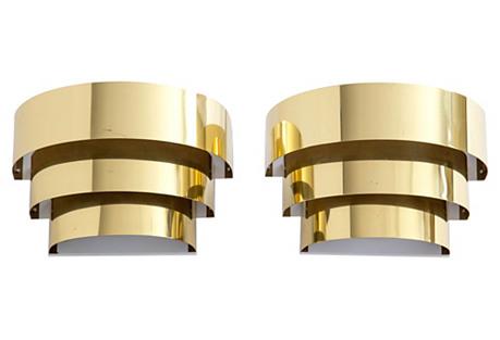 Brass Three-Tiered Sconces, Pair
